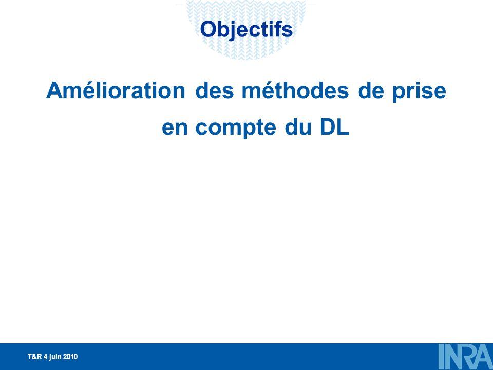 T&R 4 juin 2010 Objectifs Amélioration des méthodes de prise en compte du DL