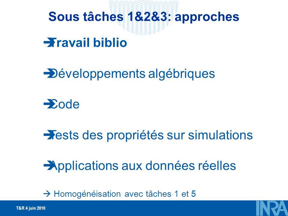 T&R 4 juin 2010 Travail biblio Développements algébriques Code Tests des propriétés sur simulations Applications aux données réelles Homogénéisation avec tâches 1 et 5 Sous tâches 1&2&3: approches