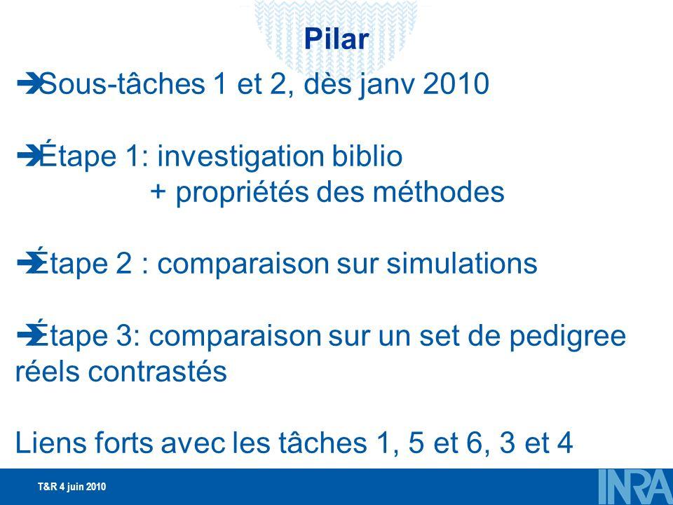 T&R 4 juin 2010 Sous-tâches 1 et 2, dès janv 2010 Étape 1: investigation biblio + propriétés des méthodes Étape 2 : comparaison sur simulations Étape 3: comparaison sur un set de pedigree réels contrastés Liens forts avec les tâches 1, 5 et 6, 3 et 4 Pilar