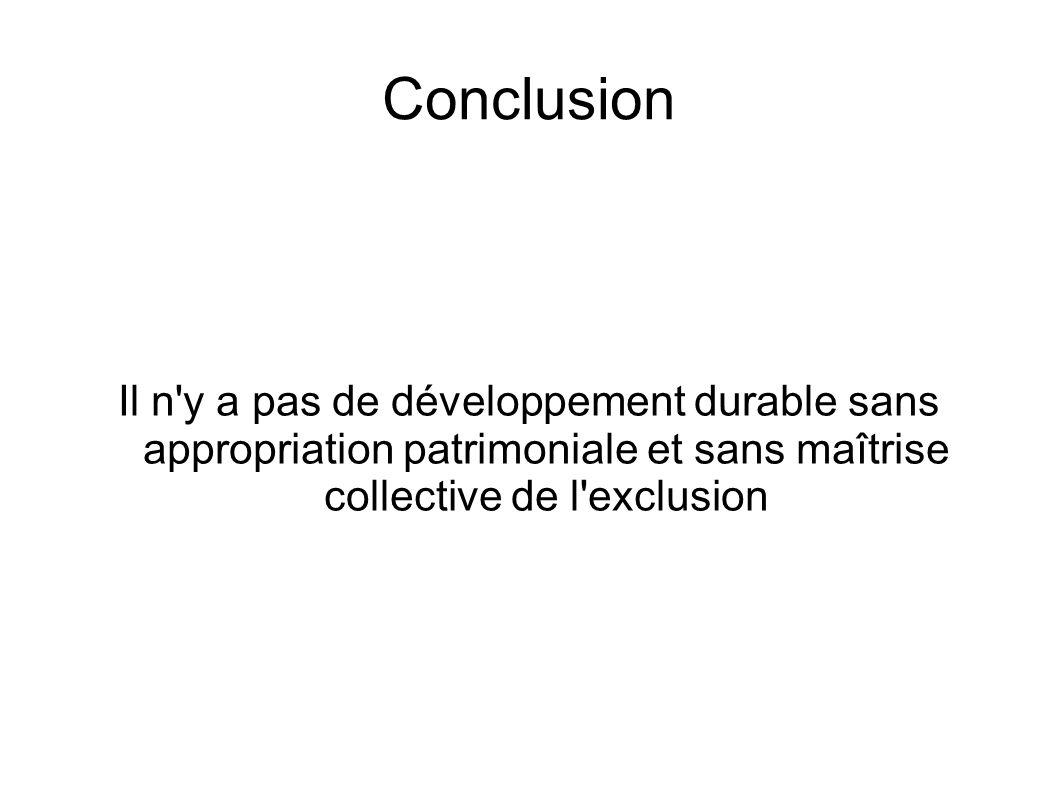 Conclusion Il n y a pas de développement durable sans appropriation patrimoniale et sans maîtrise collective de l exclusion