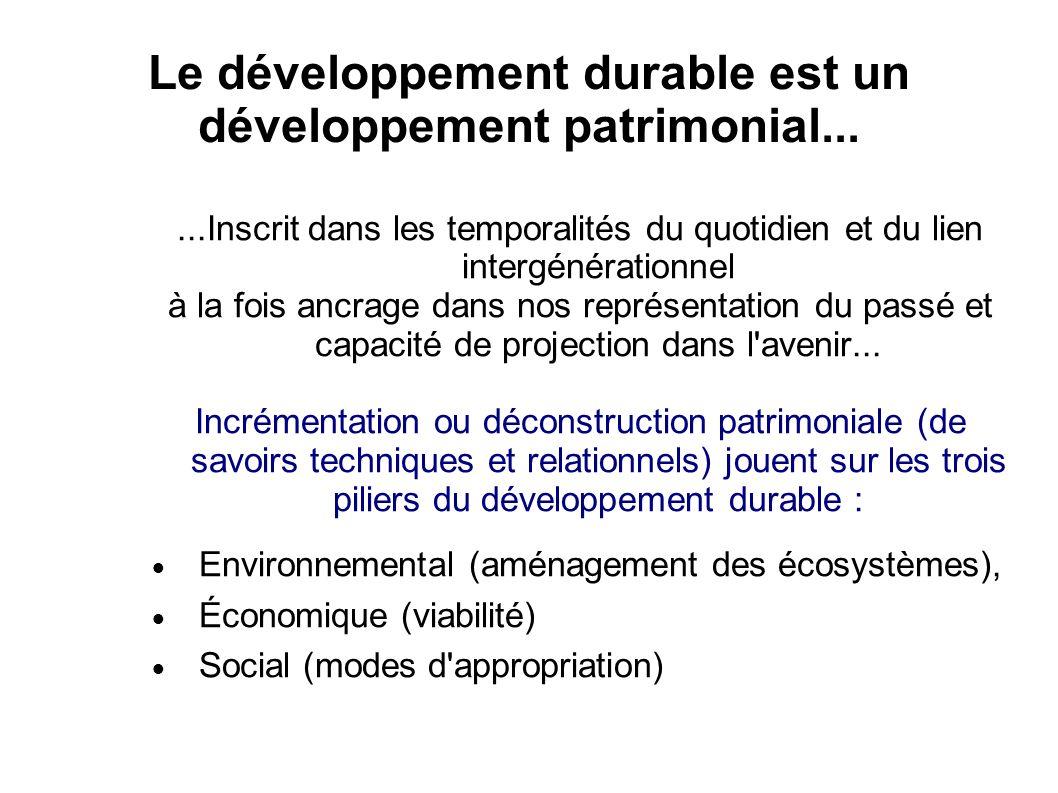 Le développement durable est un développement patrimonial......Inscrit dans les temporalités du quotidien et du lien intergénérationnel à la fois ancrage dans nos représentation du passé et capacité de projection dans l avenir...