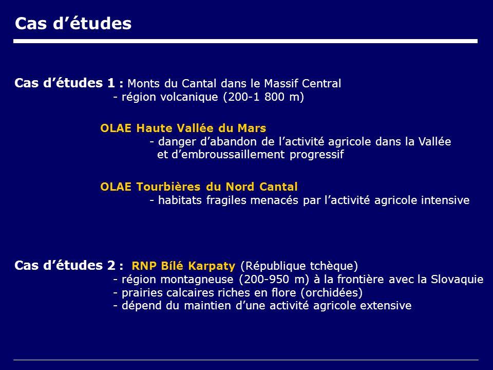 Cas détudes Cas détudes 1 : Monts du Cantal dans le Massif Central - région volcanique (200-1 800 m) OLAE Tourbières du Nord Cantal - habitats fragiles menacés par lactivité agricole intensive OLAE Haute Vallée du Mars - danger dabandon de lactivité agricole dans la Vallée et dembroussaillement progressif Cas détudes 2 : RNP Bílé Karpaty (République tchèque) - région montagneuse (200-950 m) à la frontière avec la Slovaquie - prairies calcaires riches en flore (orchidées) - dépend du maintien dune activité agricole extensive