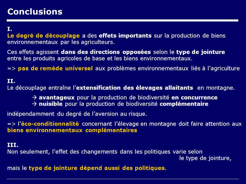 Conclusions I.