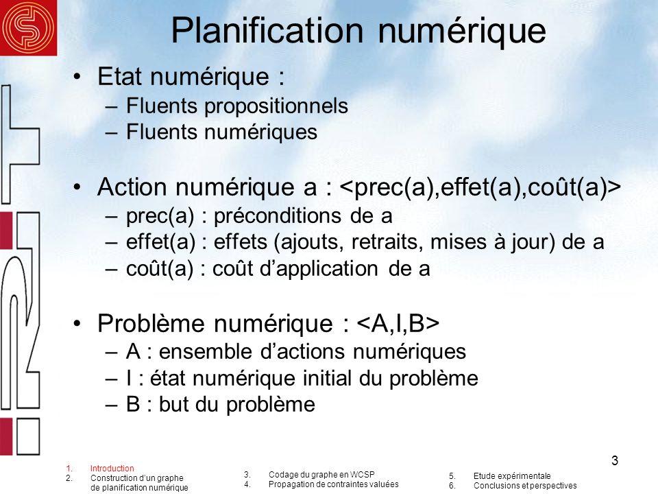4 Exemple : les vannes A B C D varC varB varA but Actions : A = B = 15)},{(varA-=4),(varC+=7)},5> C = D = Etat Initial : I = {(varA=16),(varB=3),(varC=0)} But : B = {but} 1.Introduction 2.Construction dun graphe de planification numérique 3.Codage du graphe en WCSP 4.Propagation de contraintes valuées 5.Etude expérimentale 6.Conclusions et perspectives