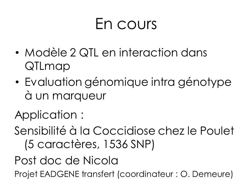 En cours Modèle 2 QTL en interaction dans QTLmap Evaluation génomique intra génotype à un marqueur Application : Sensibilité à la Coccidiose chez le P
