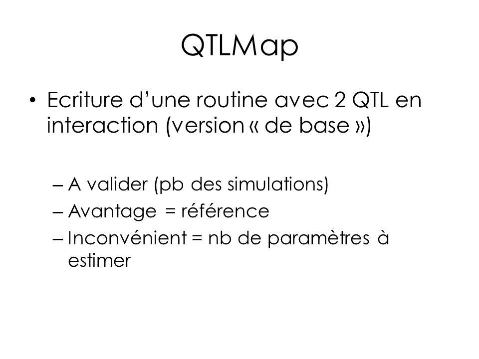 Ecriture dune routine avec 2 QTL en interaction (version « de base ») – A valider (pb des simulations) – Avantage = référence – Inconvénient = nb de p