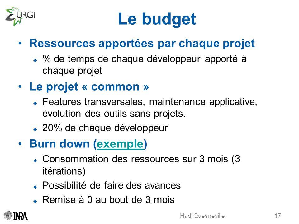 Hadi Quesneville Le budget Ressources apportées par chaque projet % de temps de chaque développeur apporté à chaque projet Le projet « common » Featur