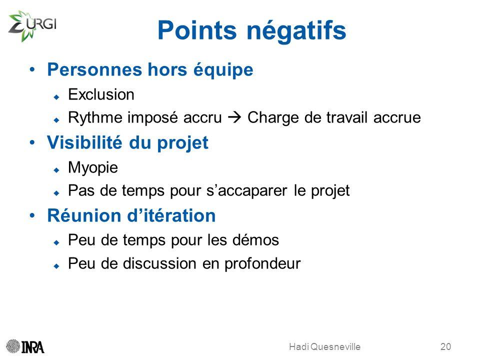 Hadi Quesneville Points négatifs Personnes hors équipe Exclusion Rythme imposé accru Charge de travail accrue Visibilité du projet Myopie Pas de temps