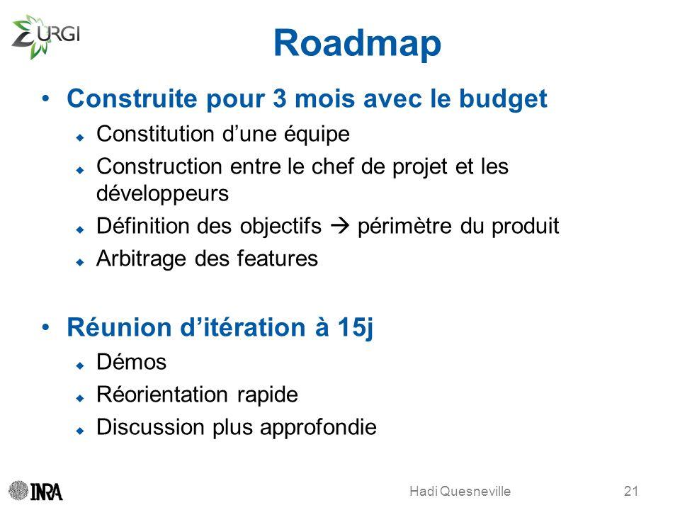 Hadi Quesneville Roadmap Construite pour 3 mois avec le budget Constitution dune équipe Construction entre le chef de projet et les développeurs Défin