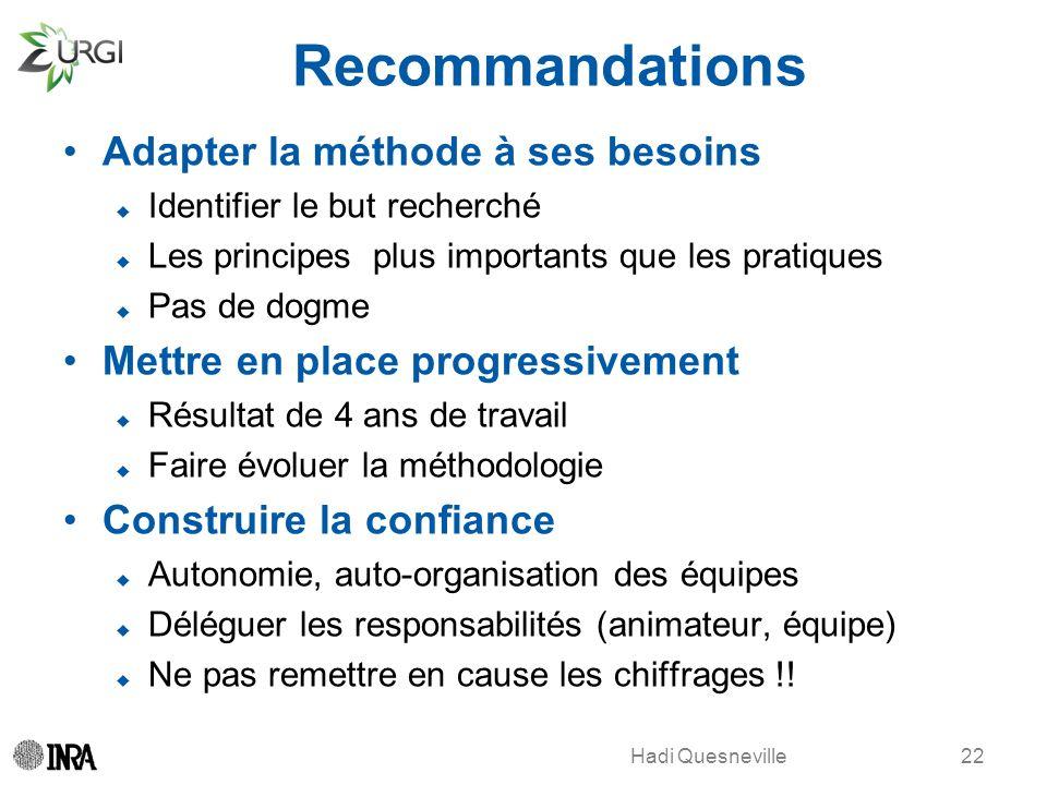 Hadi Quesneville Recommandations Adapter la méthode à ses besoins Identifier le but recherché Les principes plus importants que les pratiques Pas de d