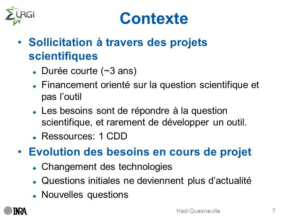 Contexte Sollicitation à travers des projets scientifiques Durée courte (~3 ans) Financement orienté sur la question scientifique et pas loutil Les be