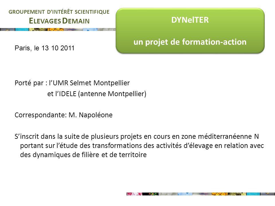 E LEVAGES D EMAIN GROUPEMENT DINTÉRÊT SCIENTIFIQUE DYNelTER un projet de formation-action DYNelTER un projet de formation-action Porté par : lUMR Selmet Montpellier et lIDELE (antenne Montpellier) Correspondante: M.