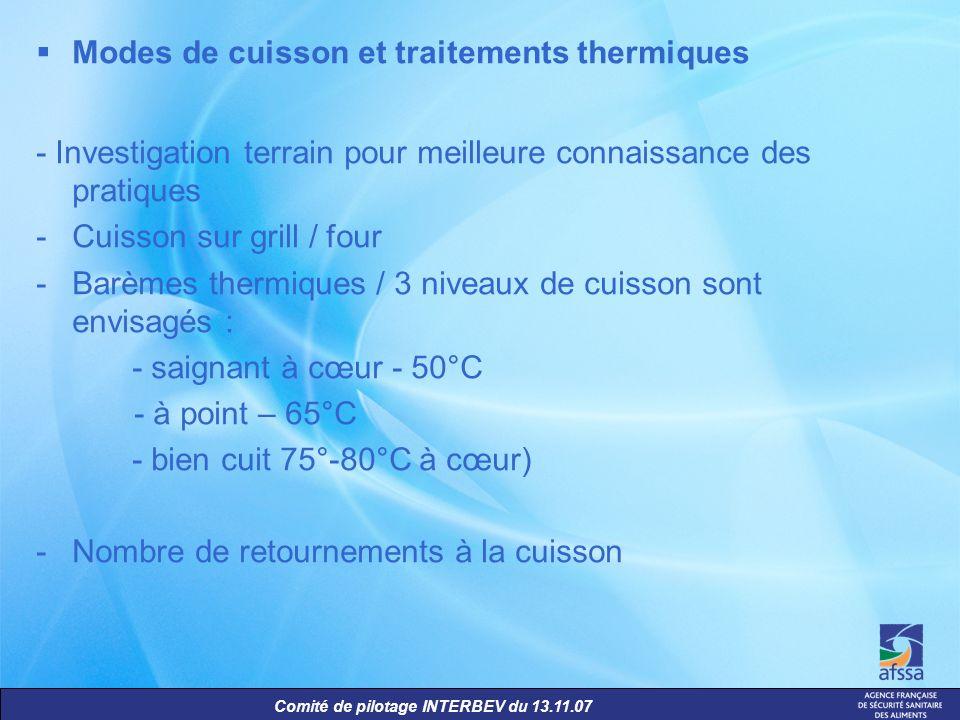 Comité de pilotage INTERBEV du 13.11.07 Modes de cuisson et traitements thermiques - Investigation terrain pour meilleure connaissance des pratiques -