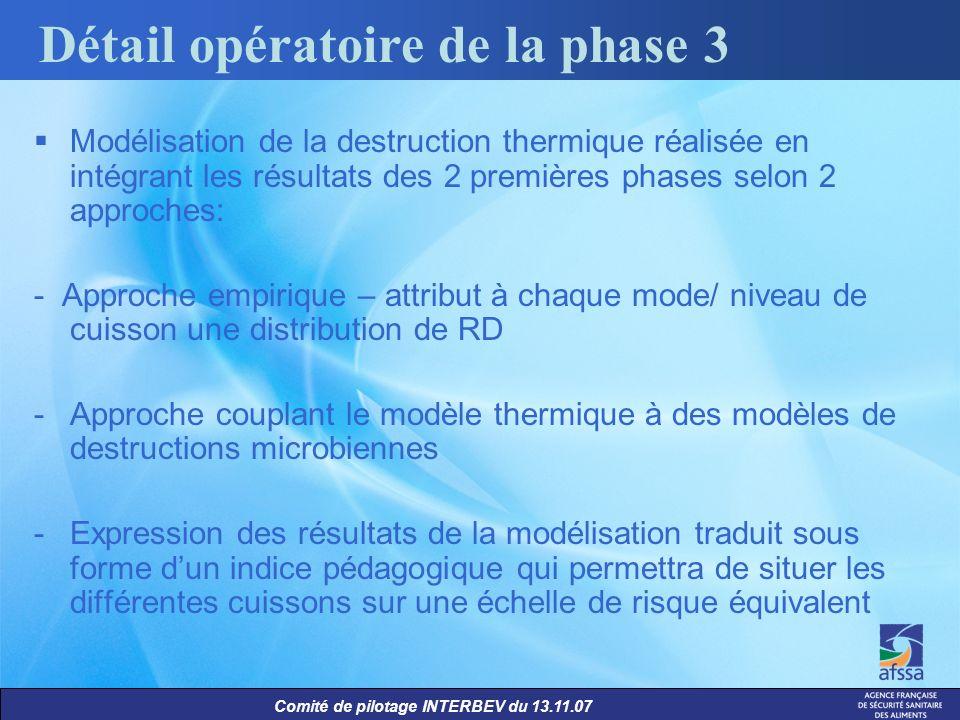 Comité de pilotage INTERBEV du 13.11.07 Modélisation de la destruction thermique réalisée en intégrant les résultats des 2 premières phases selon 2 ap