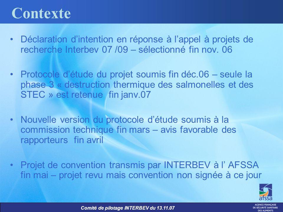 Comité de pilotage INTERBEV du 13.11.07 Contexte Déclaration dintention en réponse à lappel à projets de recherche Interbev 07 /09 – sélectionné fin n