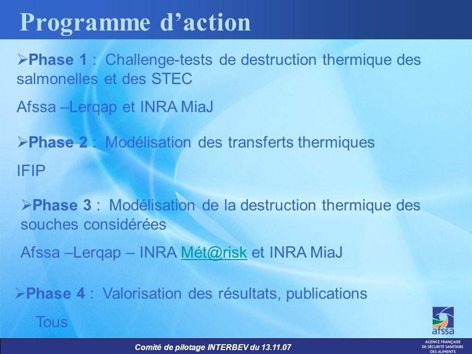 Comité de pilotage INTERBEV du 13.11.07 Programme daction Phase 1 : Challenge-tests de destruction thermique des salmonelles et des STEC Afssa –Lerqap