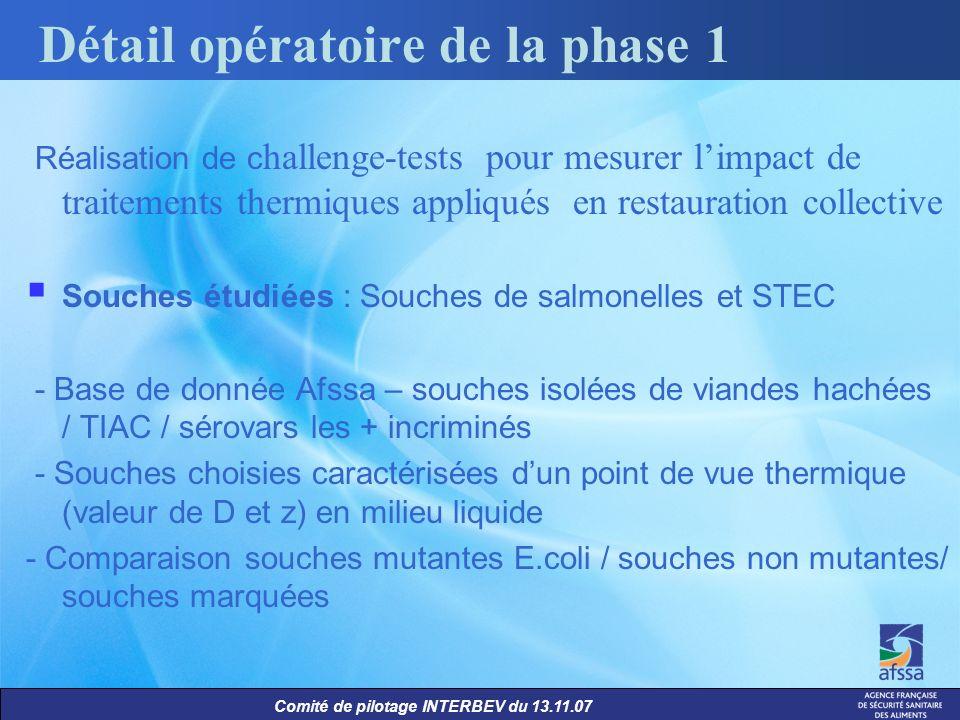 Comité de pilotage INTERBEV du 13.11.07 Réalisation de c hallenge-tests pour mesurer limpact de traitements thermiques appliqués en restauration colle