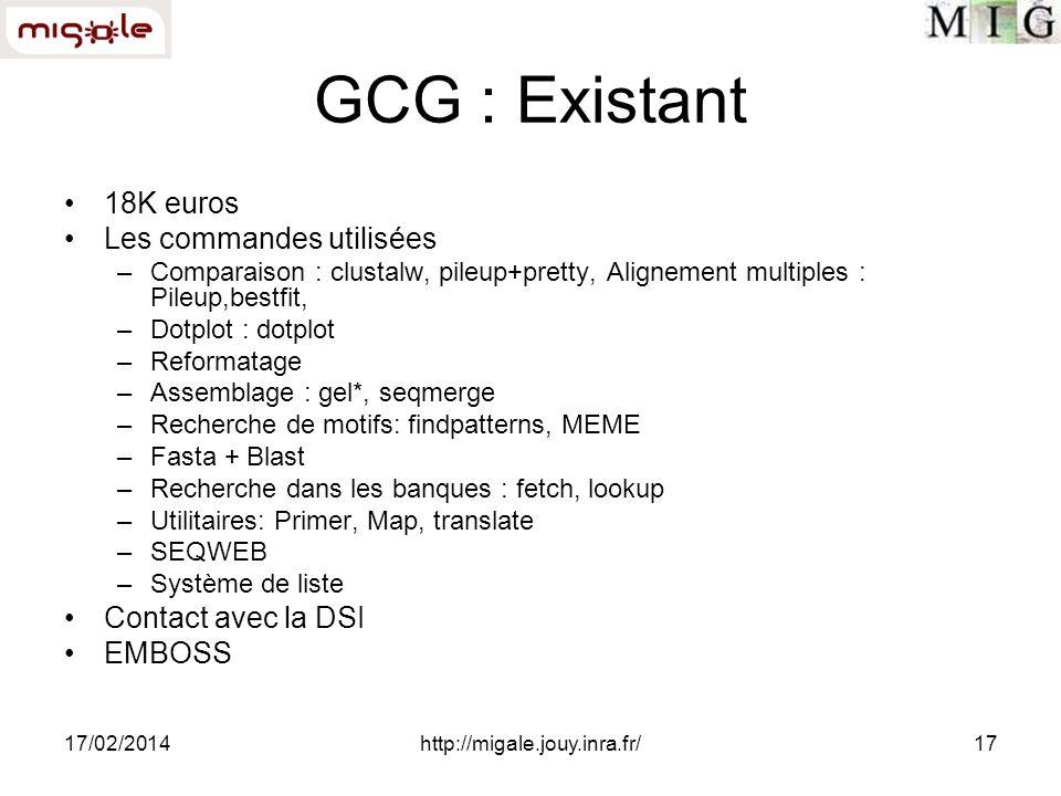 17/02/2014http://migale.jouy.inra.fr/17 GCG : Existant 18K euros Les commandes utilisées –Comparaison : clustalw, pileup+pretty, Alignement multiples : Pileup,bestfit, –Dotplot : dotplot –Reformatage –Assemblage : gel*, seqmerge –Recherche de motifs: findpatterns, MEME –Fasta + Blast –Recherche dans les banques : fetch, lookup –Utilitaires: Primer, Map, translate –SEQWEB –Système de liste Contact avec la DSI EMBOSS