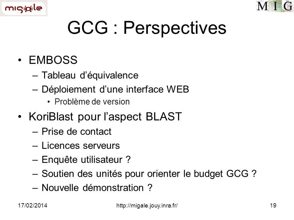 17/02/2014http://migale.jouy.inra.fr/19 GCG : Perspectives EMBOSS –Tableau déquivalence –Déploiement dune interface WEB Problème de version KoriBlast