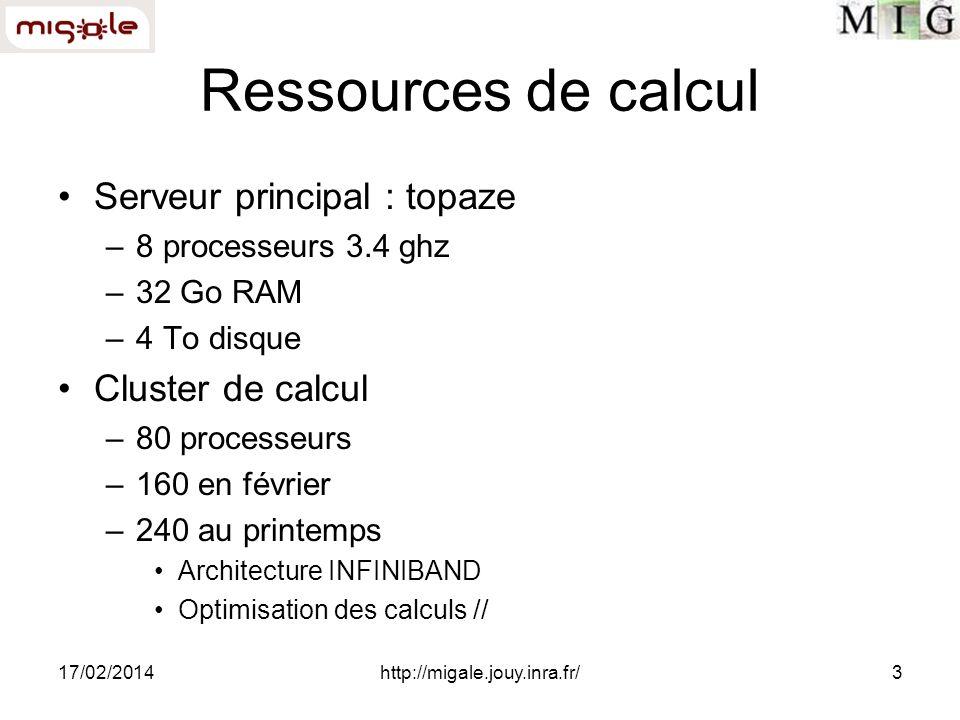 17/02/2014http://migale.jouy.inra.fr/3 Ressources de calcul Serveur principal : topaze –8 processeurs 3.4 ghz –32 Go RAM –4 To disque Cluster de calcu