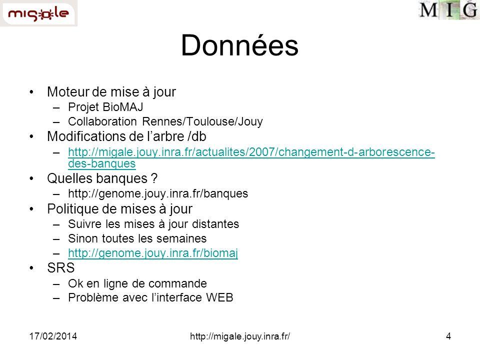 17/02/2014http://migale.jouy.inra.fr/4 Données Moteur de mise à jour –Projet BioMAJ –Collaboration Rennes/Toulouse/Jouy Modifications de larbre /db –h
