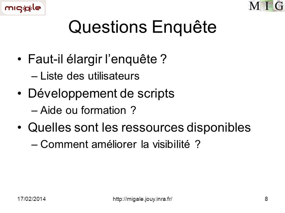17/02/2014http://migale.jouy.inra.fr/8 Questions Enquête Faut-il élargir lenquête ? –Liste des utilisateurs Développement de scripts –Aide ou formatio
