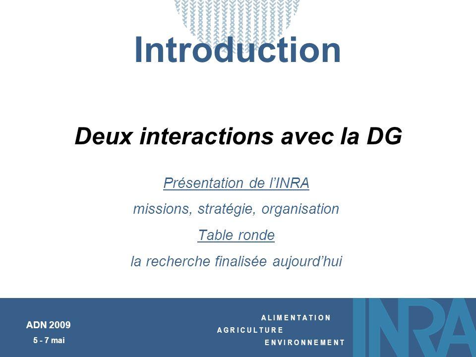 A L I M E N T A T I O N A G R I C U L T U R E E N V I R O N N E M E N T ADN 2009 5 - 7 mai Introduction Présentation de lINRA missions, stratégie, org