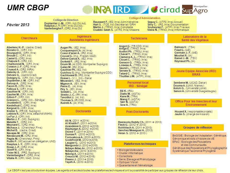 UMR CBGP Février 2013 Seguy C. (ATP2, Inra) Accueil Silvy C. (IR2, Inra) Documentation Soubeyran F. (ATP1, Inra) Travaux Vieira N. (TRNO, Inra) Inform