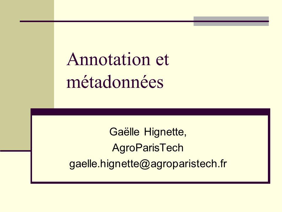 06/11/2008 Annotations et métadonnées - Gaëlle Hignette32 Boosted Wrapper Induction Freitag & Kushmerick, 2000 Fonctionnement concept par concept Tâche de classification des limites Début: cet espace entre deux mots est-il le début d une instance du concept.