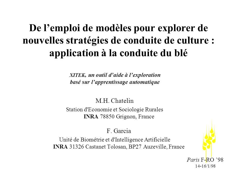 Paris F-RO 98 14-16/1/98 De lemploi de modèles pour explorer de nouvelles stratégies de conduite de culture : application à la conduite du blé M.H.