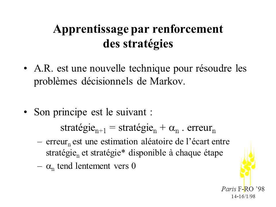 Paris F-RO 98 14-16/1/98 Apprentissage par renforcement des stratégies A.R.