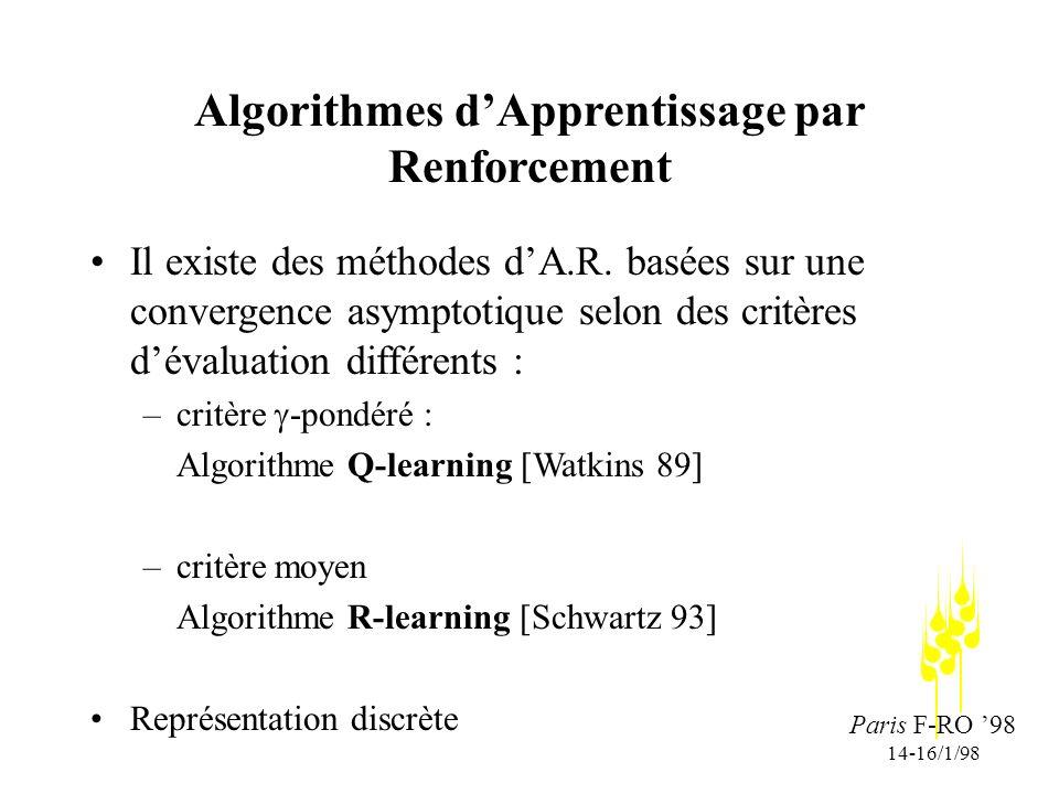 Paris F-RO 98 14-16/1/98 Algorithmes dApprentissage par Renforcement Il existe des méthodes dA.R.