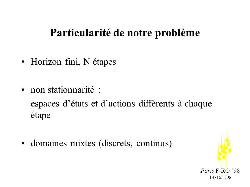Paris F-RO 98 14-16/1/98 Particularité de notre problème Horizon fini, N étapes non stationnarité : espaces détats et dactions différents à chaque étape domaines mixtes (discrets, continus)