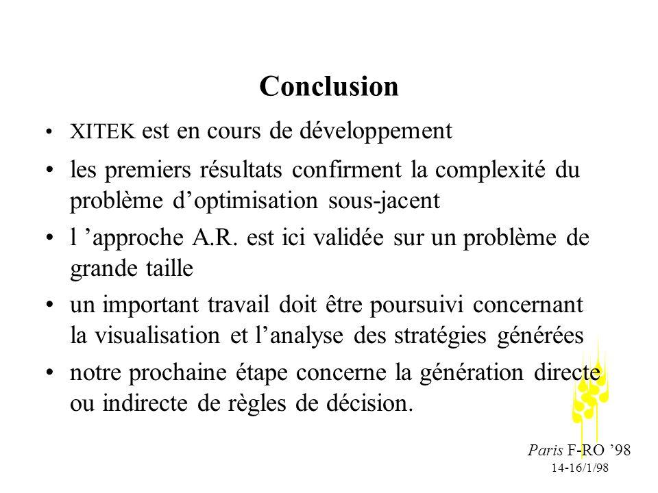 Paris F-RO 98 14-16/1/98 Conclusion XITEK est en cours de développement les premiers résultats confirment la complexité du problème doptimisation sous-jacent l approche A.R.