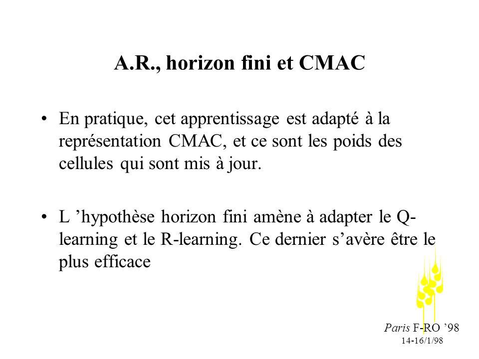 Paris F-RO 98 14-16/1/98 A.R., horizon fini et CMAC En pratique, cet apprentissage est adapté à la représentation CMAC, et ce sont les poids des cellules qui sont mis à jour.