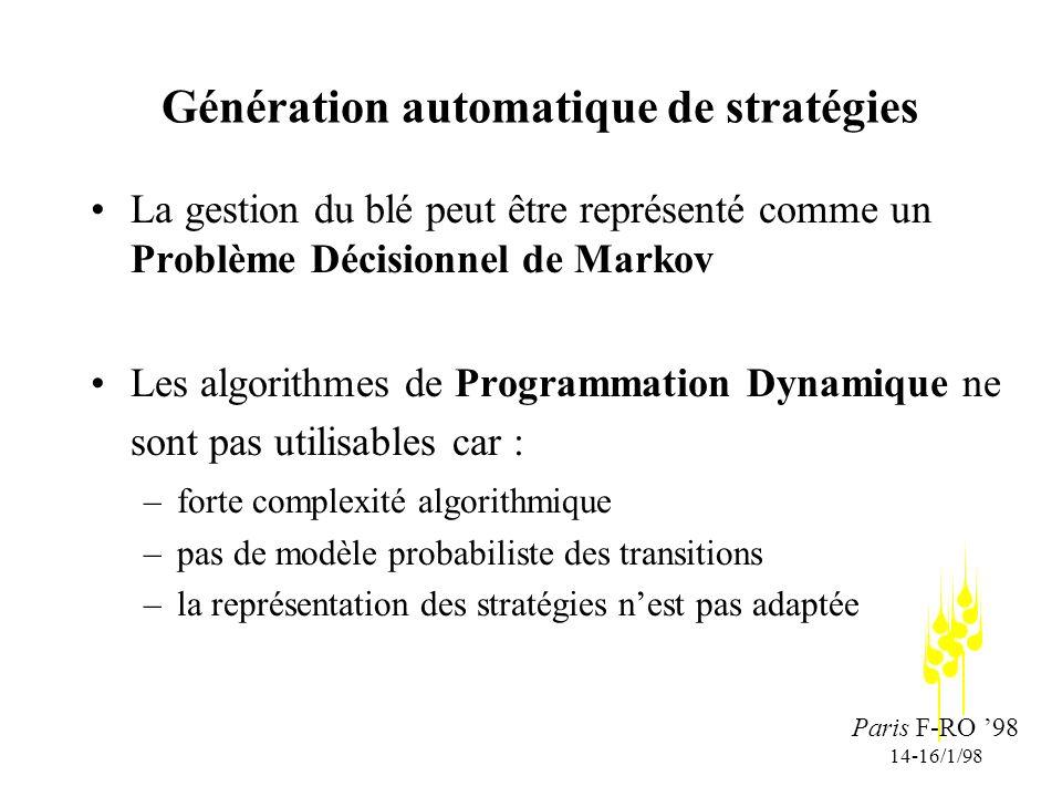 Paris F-RO 98 14-16/1/98 Génération automatique de stratégies La gestion du blé peut être représenté comme un Problème Décisionnel de Markov Les algorithmes de Programmation Dynamique ne sont pas utilisables car : –forte complexité algorithmique –pas de modèle probabiliste des transitions –la représentation des stratégies nest pas adaptée
