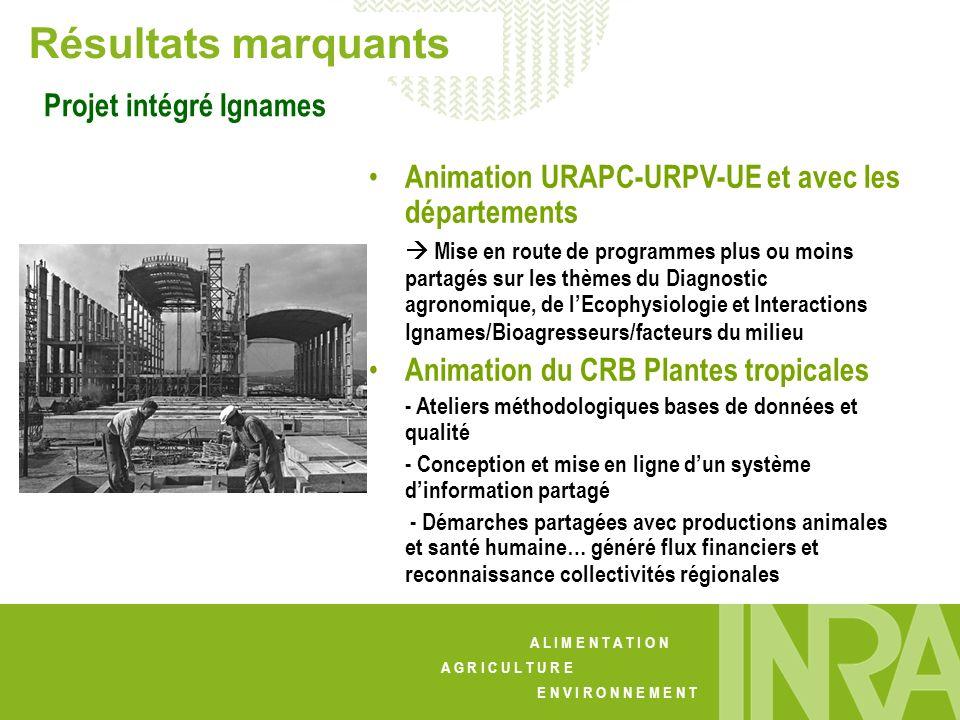 A L I M E N T A T I O N A G R I C U L T U R E E N V I R O N N E M E N T Résultats marquants Projet intégré Ignames Animation URAPC-URPV-UE et avec les