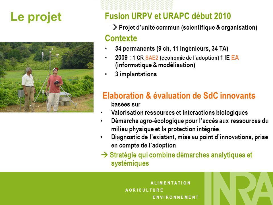 A L I M E N T A T I O N A G R I C U L T U R E E N V I R O N N E M E N T Le projet Fusion URPV et URAPC début 2010 Projet dunité commun (scientifique &