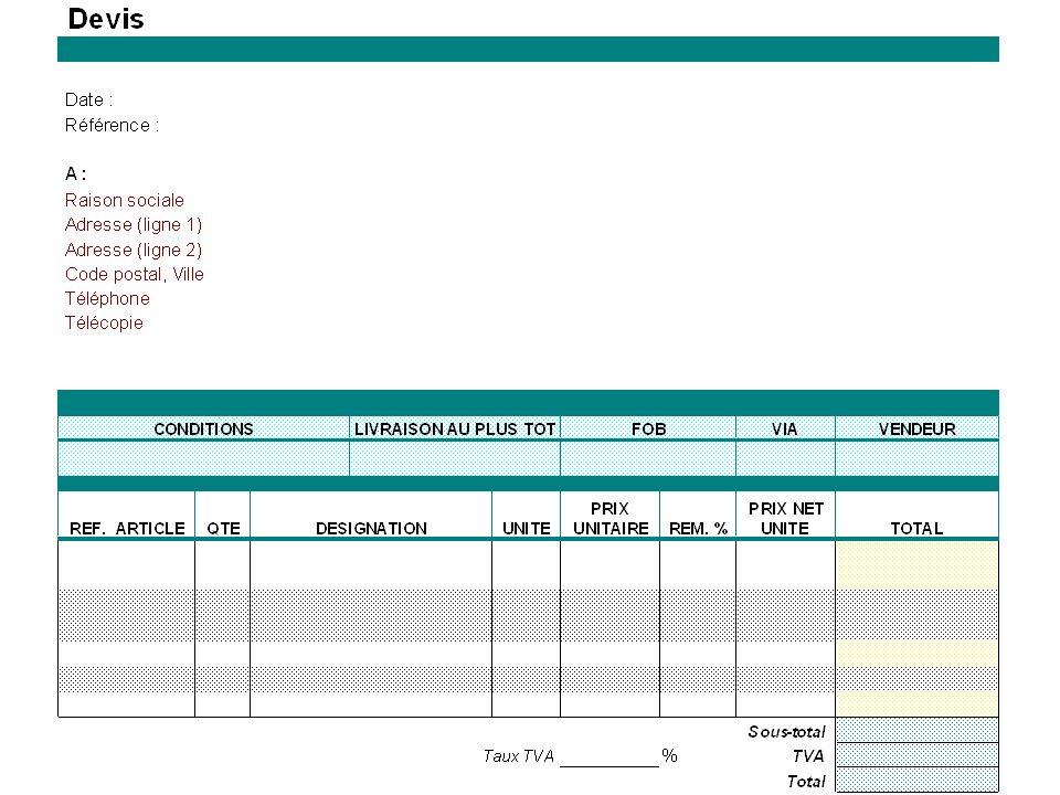 LE DEVIS Il permet de faire des comparaisons entre fournisseurs sur différents critères : - Prix - qualité - Délais de livraison - Mode de paiement - Échéance - Livraison - Service après vente