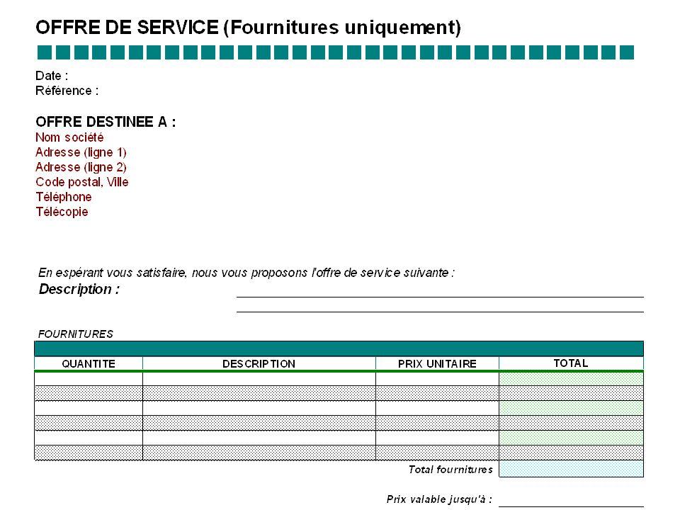Offre de services : LES FOURNITURES UNIQUEMENT