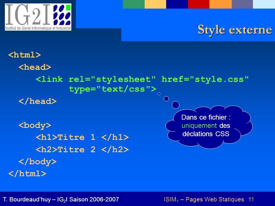 ISIM 1 – Pages Web Statiques 11T.