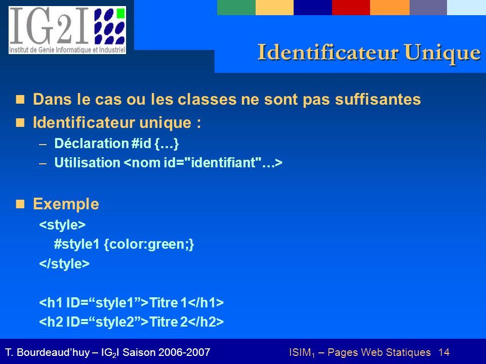 ISIM 1 – Pages Web Statiques 14T.