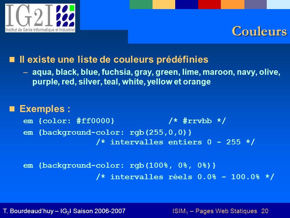 ISIM 1 – Pages Web Statiques 20T.
