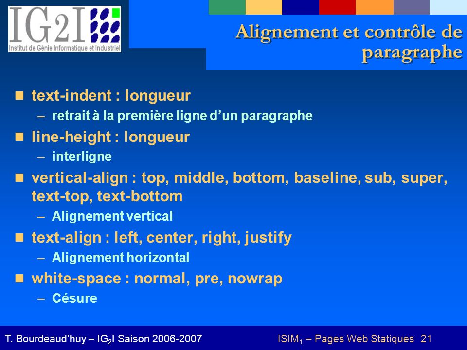 ISIM 1 – Pages Web Statiques 21T.