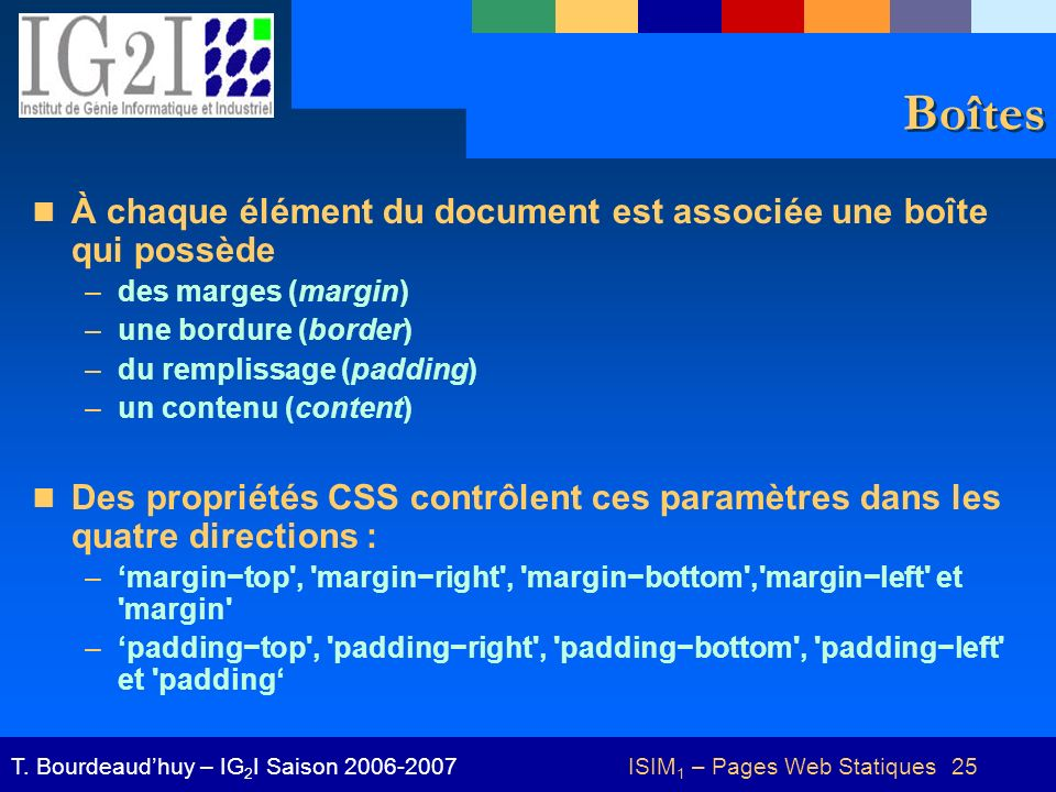 ISIM 1 – Pages Web Statiques 25T.