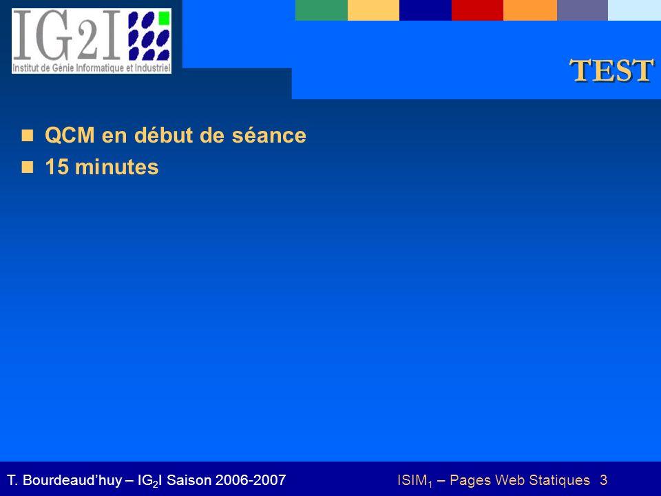 ISIM 1 – Pages Web Statiques 3T.