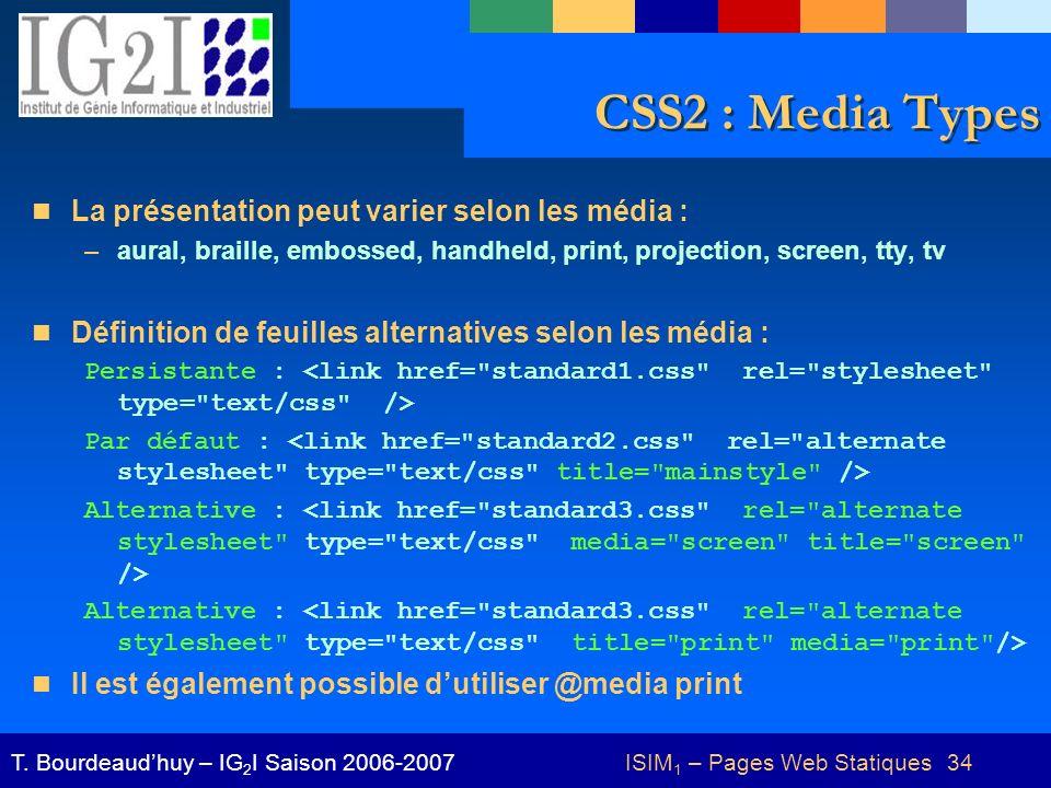 ISIM 1 – Pages Web Statiques 34T.