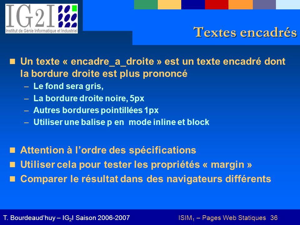 ISIM 1 – Pages Web Statiques 36T.