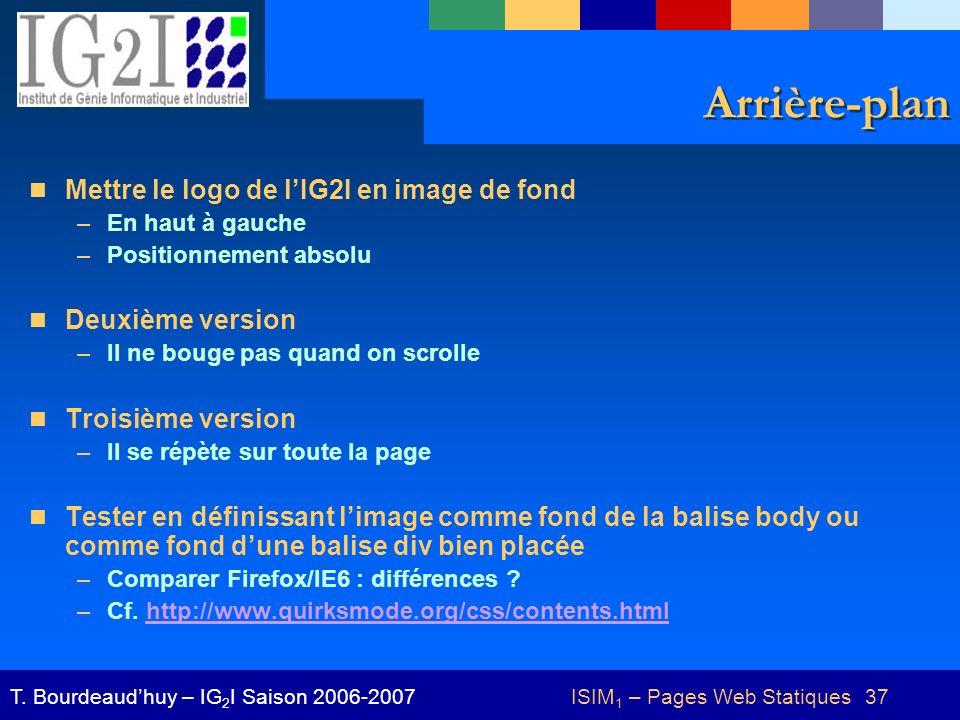 ISIM 1 – Pages Web Statiques 37T.