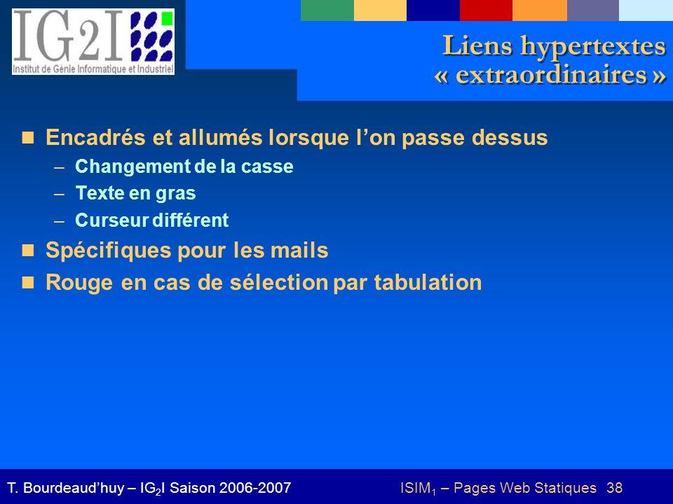 ISIM 1 – Pages Web Statiques 38T.